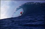 Teahupoo, Tahiti. May 2000. Mick Campbell of Australia gets tubed during the GOTCHA PRO 2000 at Teahupoo.