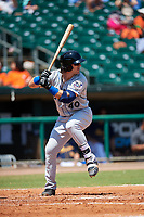 Biloxi Shuckers right fielder Clint Coulter (40) at bat during a game against the Montgomery Biscuits on May 8, 2018 at Montgomery Riverwalk Stadium in Montgomery, Alabama.  Montgomery defeated Biloxi 10-5.  (Mike Janes/Four Seam Images)