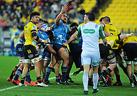 Blues' Ofa Tuungafasi appeals to referee Ben O'Keefe during the Super Rugby Aotearoa match between the Hurricanes and Blues at Sky Stadium in Wellington, New Zealand on Saturday, 18 July 2020. Photo: Dave Lintott / lintottphoto.co.nz