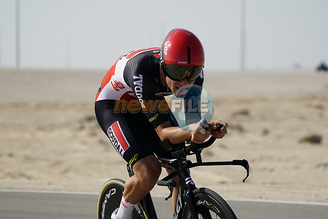 Tosh Van Der Sande (BEL) Lotto-Soudal during Stage 2 of the 2021 UAE Tour an individual time trial running 13km around  Al Hudayriyat Island, Abu Dhabi, UAE. 22nd February 2021.  <br /> Picture: Eoin Clarke | Cyclefile<br /> <br /> All photos usage must carry mandatory copyright credit (© Cyclefile | Eoin Clarke)