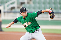 Savannah Sand Gnats starting pitcher Kevin McGowan (33) in action against the Kannapolis Intimidators at CMC-Northeast Stadium on June 9, 2014 in Kannapolis, North Carolina.  The Intimidators defeated the Sand Gnats 4-2.  (Brian Westerholt/Four Seam Images)