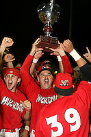 September 15 2008:  Mark DeJohn and Colt Sedbrook of the Batavia Muckdogs, Class-A affiliate of the St. Louis Cardinals, celebrate winning the NY-Penn League championship after a game at Dwyer Stadium in Batavia, NY.  Photo by:  Mike Janes/Four Seam Images