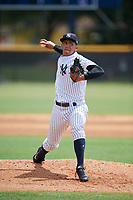 GCL Yankees West starting pitcher Leonardo Pestana (48) delivers a pitch during a game against the GCL Tigers West on August 10, 2018 at Yankee Complex in Tampa, Florida.  GCL Yankees West defeated GCL Tigers West 6-5.  (Mike Janes/Four Seam Images)