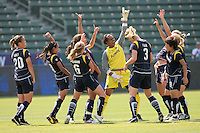 The Los Angeles Sol celebrate scoring goal against the Chicago Red Stars with a Michael Jackson dance during their WPS game at The Home Depot Center on June 27,2009 in Carson, California.  The Sol defeated the Red Stars 4-0.