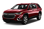 2020 Chevrolet traverse 3LT 5 Door SUV angular front stock photos of front three quarter view