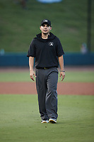Umpire Hector Cuellar works the game between the Hickory Crawdads and the Winston-Salem Dash at Truist Stadium on July 10, 2021 in Winston-Salem, North Carolina. (Brian Westerholt/Four Seam Images)
