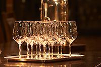 Wine tasting glasses standing on a silver tray in a tasting room Ulriksdal Ulriksdals Wärdshus Värdshus Wardshus Vardshus Restaurant, Stockholm, Sweden, Sverige, Europe