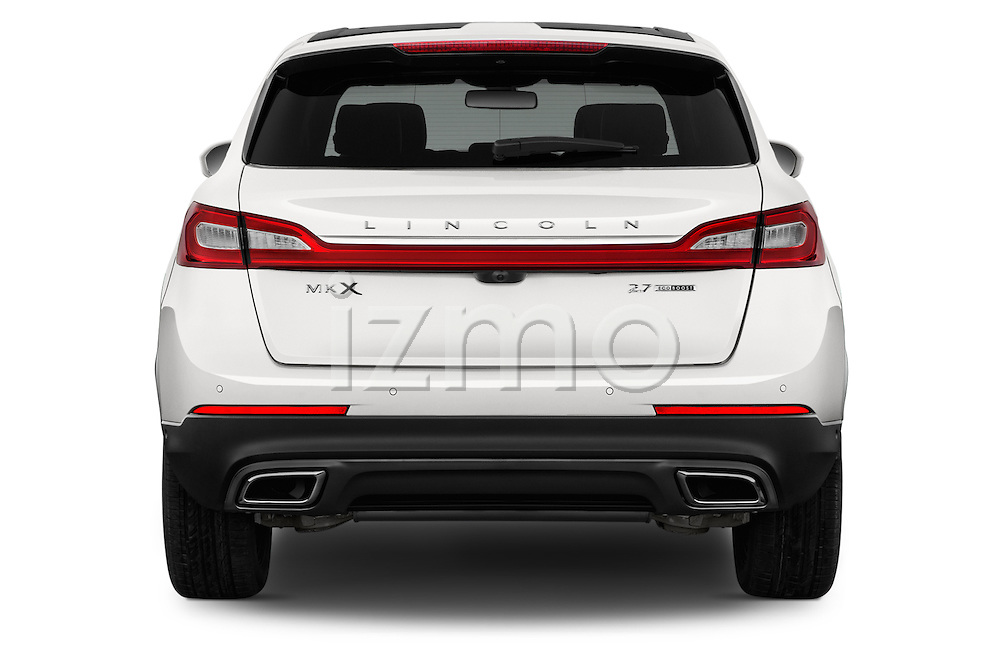 Straight rear view of 2018 Lincoln MKX Black Label 5 Door Suv Rear View  stock images