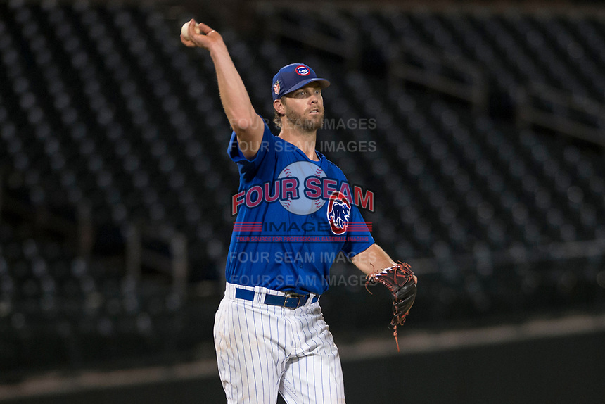 AZL Cubs 1 relief pitcher Ryan Webb (38) makes a throw to first base during an Arizona League game against the AZL Reds at Sloan Park on July 13, 2018 in Mesa, Arizona. The AZL Cubs 1 defeated the AZL Reds 4-1. (Zachary Lucy/Four Seam Images)