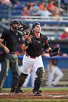 Batavia Muckdogs catcher Alex Jones (43) watches the play unfold in front of umpire Drew Saluga during a game against the Auburn Doubledays on July 6, 2017 at Dwyer Stadium in Batavia, New York.  Auburn defeated Batavia 4-3.  (Mike Janes/Four Seam Images)
