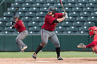 AZL Diamondbacks first baseman Terence Connelly (56) at bat during an Arizona League game against the AZL Angels at Tempe Diablo Stadium on July 16, 2018 in Tempe, Arizona. The AZL Diamondbacks defeated the AZL Angels by a score of 4-3. (Zachary Lucy/Four Seam Images)