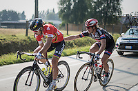 Peter Sagan (SVK/Tinkoff) being 'surprised from behind' by  John Degenkolb (DEU/Team Giant-Alpecin) mid-race<br /> <br /> 12th Eneco Tour 2016 (UCI World Tour)<br /> stage 3: Blankenberge-Ardooie (182km)