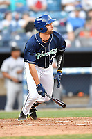 Asheville Tourists first baseman Johnny Cresto (17) swings at a pitch during a game against the Augusta GreenJackets at McCormick Field on April 6, 2019 in Asheville, North Carolina. The Tourists defeated the GreenJackets 6-3. (Tony Farlow/Four Seam Images)