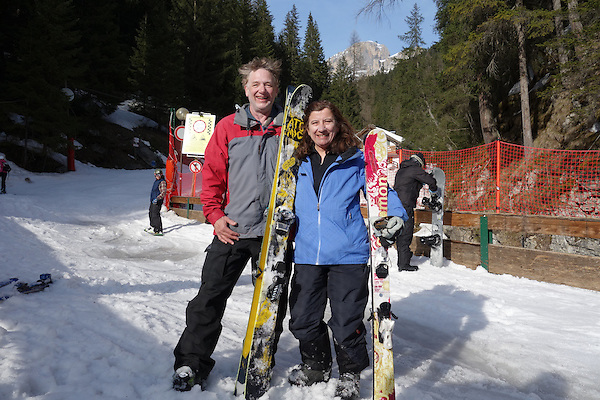 Johnb and Beth, End of ski trail Belvedere to Canazei, Dolomites, Italy,