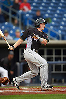 Wisconsin Timber Rattlers designated hitter Gregory McCall (21) at bat during the first game of a doubleheader against the Quad Cities River Bandits on August 19, 2015 at Modern Woodmen Park in Davenport, Iowa.  Quad Cities defeated Wisconsin 3-2.  (Mike Janes/Four Seam Images)