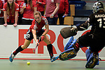 GER - Luebeck, Germany, February 06: During the 1. Bundesliga Damen indoor hockey semi final match at the Final 4 between Berliner HC (blue) and Duesseldorfer HC (red) on February 6, 2016 at Hansehalle Luebeck in Luebeck, Germany. Final score 1-3 (HT 0-1). (Photo by Dirk Markgraf / www.265-images.com) *** Local caption *** Darja Moellenberg #11 of Duesseldorfer HC scores a goal