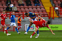 Rhys Bennett of Carlisle United and Tom Nichols of Crawley Town during Crawley Town vs Carlisle United, Sky Bet EFL League 2 Football at Broadfield Stadium on 21st November 2020