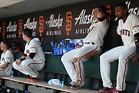 SAN FRANCISCO, CA - APRIL 27:  Christian Arroyo #22 of the San Francisco Giants sits in the dugout during the game against the Los Angeles Dodgers at AT&T Park on Thursday, April 27, 2017 in San Francisco, California. (Photo by Brad Mangin)