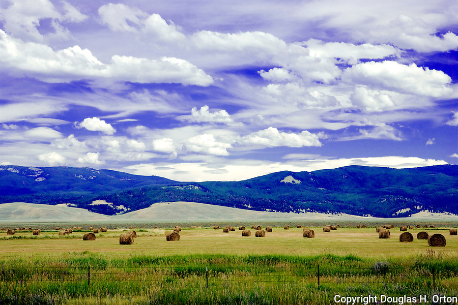 """Hay farm in the Big Hole Valley in Southwestern Montana is nearly surrounded by the Beaverhead-Deerlodge National Forest.  It is the highest valley in Montana, with the Big Hole River, winding about 150 miles, internationally famous for trout fishing.  Known as the """"Land of 10,000 hay bales."""""""