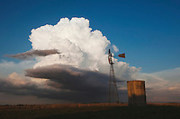 Wind mill with thunder cloud, Sinton, Corpus Christi, Coastal Bend, Texas, USA