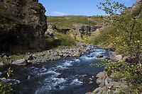 Schlucht des Flusses, Baches Botnsá im Westen Islands, river in the west of Iceland