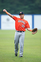 Gabriel Bracamonte (18) of the Greeneville Astros warms up in the outfield prior to the game against the Kingsport Mets at Hunter Wright Stadium on July 7, 2015 in Kingsport, Tennessee.  The Mets defeated the Astros 6-4. (Brian Westerholt/Four Seam Images)