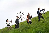 BNPS.co.uk (01202) 558833<br /> Pic: ZacharyCulpin/BNPS<br /> <br /> Pictured: Running up that hill on the hunt for Treasure, the cast before the show began, (From left) Ryan Woodcock, Ethan Taylor, Eleanor Toms and Simon Stallard<br /> <br /> Life of Treasure - The cast from This is My Theatre pictured during their Summer Tour of their stage production, Treasure Island.<br /> <br /> The swashbuckling tale of murder and mutiny are lifted from the pages of Robert Louis Stevenson's classic novel. The performance took place last night (Wednesday) at the seaside location of the Nothe Fort in Weymouth, Dorset which was built in 1872.