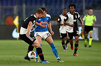 Napoli's Piotr Zielinski, right, is challenged by Juventus' Matthijs de Ligt during the Italian Cup football final match between Napoli and Juventus at Rome's Olympic stadium, June 17, 2020. Napoli won 4-2 at the end of a penalty shootout following a scoreless draw.<br /> UPDATE IMAGES PRESS/Isabella Bonotto