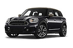 Stock pictures of low aggressive front three quarter view of 2020 MINI Countryman Cooper-SE-JCW 5 Door SUV Low Aggressive