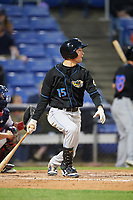 Akron RubberDucks designated hitter Tyler Krieger (15) at bat during a game against the Binghamton Rumble Ponies on May 12, 2017 at NYSEG Stadium in Binghamton, New York.  Akron defeated Binghamton 5-1.  (Mike Janes/Four Seam Images)