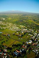 Paradise Helicopters doors off flight of the volcano, Mauna Kea in the distance, Hilo, Hawaii, Big Island of Hawaii