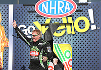 Feb. 24, 2013; Chandler, AZ, USA; NHRA top fuel dragster driver Terry McMillen during the Arizona Nationals at Firebird International Raceway. Mandatory Credit: Mark J. Rebilas-