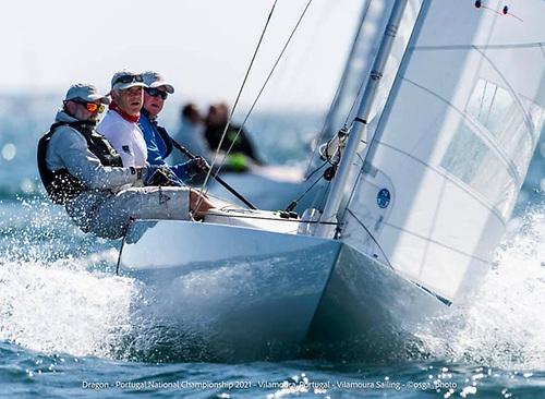 (Right to left) Martin Byrne, Adam Winkelmann and John Simms sailing Jaguar at the Portuguese Dragon Nationals