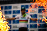 World Champion Peter SAGAN (SVK) Bora-Hansgrohe on the podium after winning the 2018 Paris-Roubaix race, Velodrome Roubaix, France, 8 April 2018, Photo by Thomas van Bracht / PelotonPhotos.com | All photos usage must carry mandatory copyright credit (Peloton Photos | Thomas van Bracht)