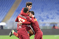 Lorenzo Pellegrini of Roma celebrates with Spinazzola and Villar after scoring the goal of 1-0  during the Serie A football match between AS Roma and FC Internazionale at Olimpico stadium in Roma (Italy), January 10th, 2021. Photo Andrea Staccioli / Insidefoto