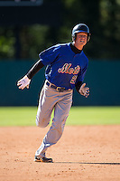 Dylan Thompson (27) of Socastee High School in Myrtle Beach, South Carolina playing for the New York Mets scout team at the South Atlantic Border Battle at Doak Field on November 2, 2014.  (Brian Westerholt/Four Seam Images)