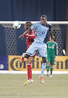 09 March 2013: Sporting KC forward C.J. Sapong #17 and Toronto FC defender Jeremy Hall #25 in action during an MLS game between Sporting Kansas City and Toronto FC at The Rogers Centre in Toronto, Ontario Canada..Toronto FC won 2-1.