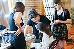 Make up team works with Natalia de Molina and Andrea Fandos during 'Las Ninas' filming. August 2, 2019. (ALTERPHOTOS/Francis González)