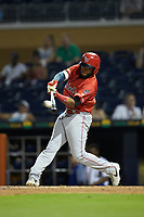 Sherman Johnson (32) of the Louisville Bats at bat against the Durham Bulls at Durham Bulls Athletic Park on May 28, 2019 in Durham, North Carolina. The Bulls defeated the Bats 18-3. (Brian Westerholt/Four Seam Images)