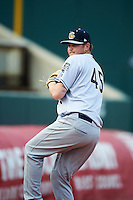 Kane County Cougars pitcher Ryan Burr (45) throws in the bullpen during the first game of a doubleheader against the Cedar Rapids Kernels on May 10, 2016 at Perfect Game Field in Cedar Rapids, Iowa.  Kane County defeated Cedar Rapids 2-0.  (Mike Janes/Four Seam Images)
