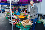 Aidan O'Connor getting his fruit and veg ready on his stall  at the Farmers Market on Saturday.