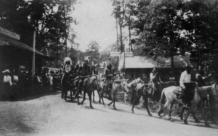 St Louis MO:  A view of Indians riding in one of the daily parades as part of the Cummins Indian Congress show.