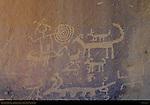 Petroglyphs over Una Vida Chacoan Great House, Anasazi Hisatsinom Ancestral Pueblo Site, Chaco Culture National Historical Park, Chaco Canyon, Nageezi, New Mexico