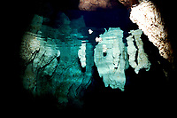 Chandelier caves, Palau. A series of caves formed in the Rock Islands of Palau, Micronesiawhen the sea erroded the limestone. Accessed from below the surface.