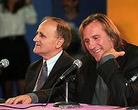 Montreal (QC)CANADA - Aug 27 1995 File Photo-<br /> Serge Losique, Gerard Depardieu press conference
