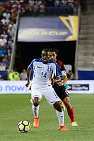 Harrison, NJ - Friday July 07, 2017: Oscar Boniek García, Bryan Ruiz during a 2017 CONCACAF Gold Cup Group A match between the men's national teams of Honduras (HON) vs Costa Rica (CRC) at Red Bull Arena.