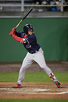Salem Red Sox center fielder Tate Matheny (19) at bat during the second game of a doubleheader against the Potomac Nationals on May 13, 2017 at G. Richard Pfitzner Stadium in Woodbridge, Virginia.  Potomac defeated Salem 3-2.  (Mike Janes/Four Seam Images)