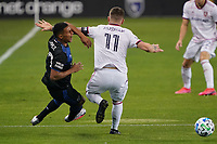 SAN JOSE, CA - OCTOBER 28: Marcos Lopez #27 of the San Jose Earthquakes collides with Albert Rusnak #11 of Real Salt Lake during a game between Real Salt Lake and San Jose Earthquakes at Earthquakes Stadium on October 28, 2020 in San Jose, California.