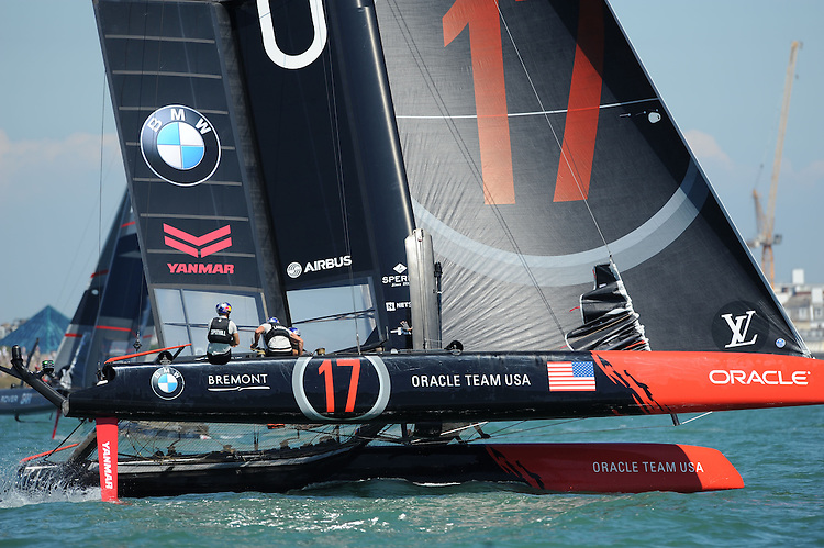 Jimmy Spithill, Oracle Team USA, JULY 23, 2016 - Sailing:  Jimmy Spithill (AU) helms Oracle Team USA during day one of the Louis Vuitton America's Cup World Series racing, Portsmouth, United Kingdom. (Photo by Rob Munro/Stewart Communications)