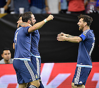 Houston, TX - Tuesday June 21, 2016: Ezequiel Lavezzi, Gonzalo Higuain, Lionel Messi during a Copa America Centenario semifinal match between United States (USA) and Argentina (ARG) at NRG Stadium.